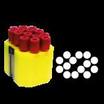Jogo de 6 porta-tubos com capacidade total para 84 tubos 13mm x 75mm