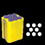 Jogo de 6 porta-tubos com capacidade total para 48 tubos 16mm x 100mm